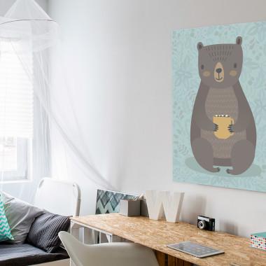 Niedźwiedź Lesław - nowoczesny obraz na płótnie