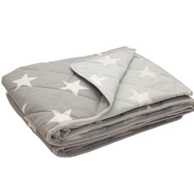 Narzuta na łóżko gwiazdy na szarym - na zgaszonej mięcie