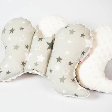 Motylek, poduszka, minky bawełna gwiazdy ecru dwustronnie - M&C