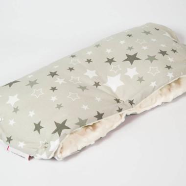 Mufka, rękawica do wózka minky, bawełna gwiazdy ecru - M&C