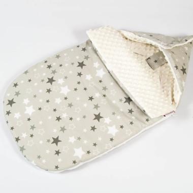 Śpiworek minky bawełna gwiazdy ecru zapięty 2 - M&C