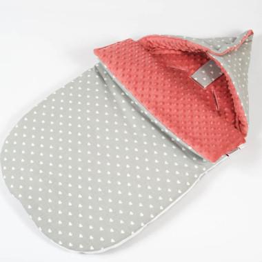 Śpiworek minky bawełna serduszka zapięty - M&C