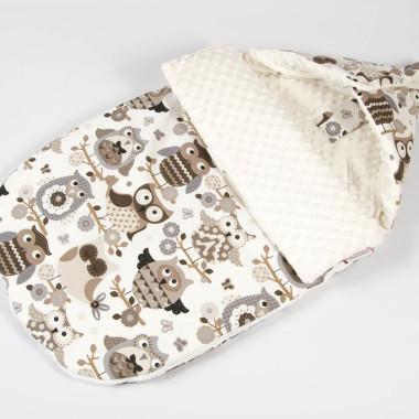 Śpiworek minky bawełna sowy zapięty - M&C