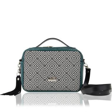 TOREBKA HANZA - modna torebka ze skóry ekologicznej w kolorze butelkowej zieleni