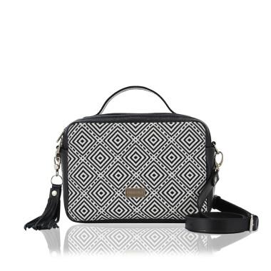 TOREBKA HANZA - modna torebka ze skóry naturalnej  w kolorze czarnym