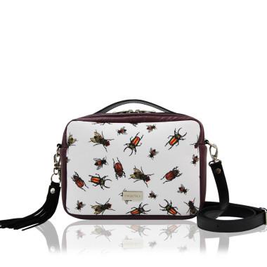 TOREBKA HANZA - modna torebka ze skóry ekologicznej  w kolorze biało-bordowym