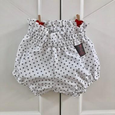 Spodenki bloomersy białe w szare kropki,  bawełniane dla dzieci