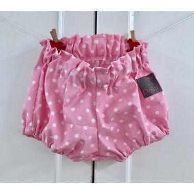 Różowe spodenki w kropeczki -bloomersy bawełniane dla dzieci