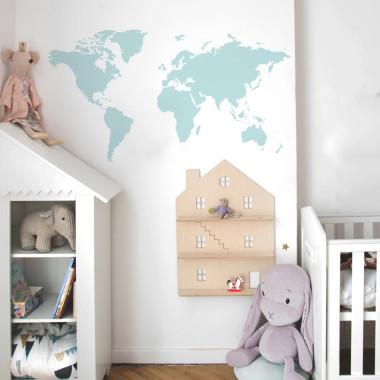 NAKLEJKA NA ŚCIANĘ MAPA BABY BLUE