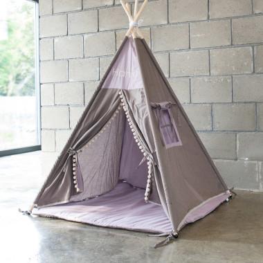 Tipi - namiot dla dzieci z indywidualnym napisem i pomponami