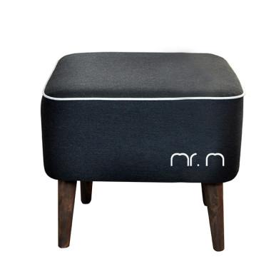 Miękka czarna pufa w stylu nowoczesnym, pasuje do wnętrz loft, industrialnych, nowoczesnych