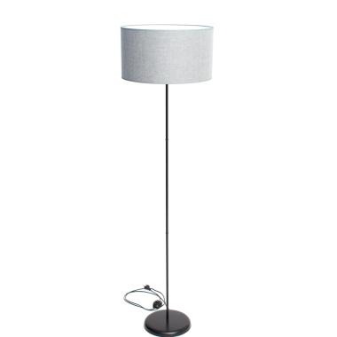 Lampa SLIM podłogowa czarna z szarym abażurem