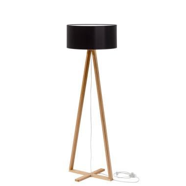 Nowoczesna elegancka minimalistyczna lampa podłogowa do salonu, sypialni, biura, gabinetu. Drewniana podstawa z czarnym abażurem.