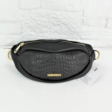 Solidna, modna, elegancka czarna nerka damska z zamkiem w złotym kolorze