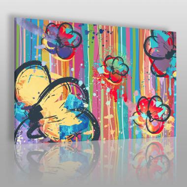 Kolorowy, nowoczesny obraz na płótnie do salonu-kwiaty