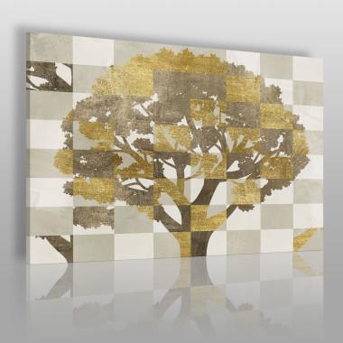 Abstrakcyjny obraz na płótnie przedstawiający drzewo.