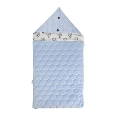 Dwustronny, miękki błękitny śpiworek z kapturem do łóżeczka, wózka, gondoli, 60cm