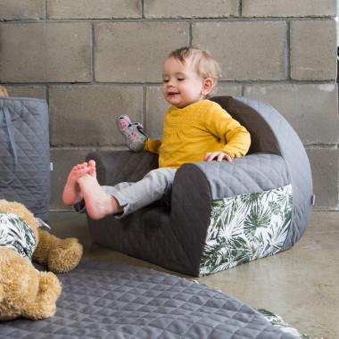 Miękki, wygodny fotelik dla dziecka do pokoju z bawełnianego nakrycia, szary w palmy