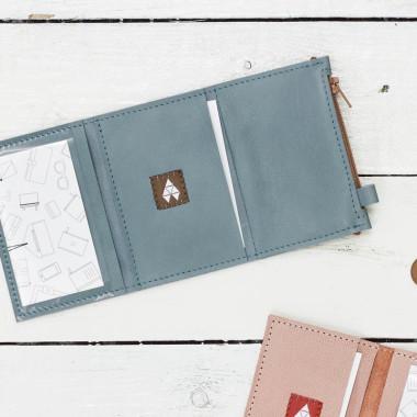 MIKRO +- minimalistyczny portfel/wizytownik.-BLUE