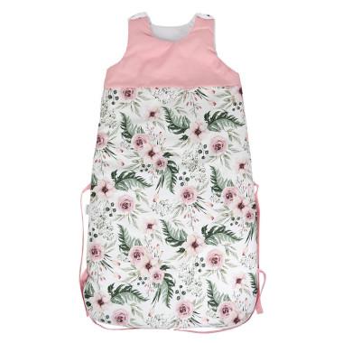 Miękki, bawełniany, śpiworek niemowlęcy w różowe kwiaty