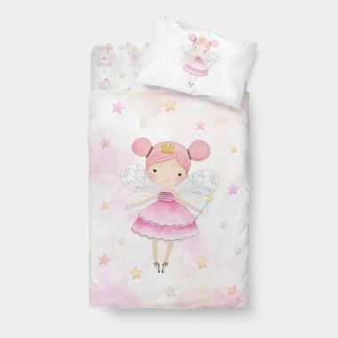 delikatna, miła pościel dziecięca z wróżką z różowym minky dla dziewczynki