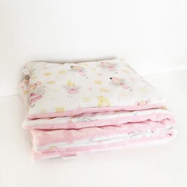 dwustronna, miękka pościel na jasnym tle w wróżki z różowym minky w gwiazdki do kołyski