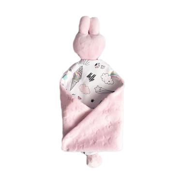 miękki, dwustronny, bawełniany przytlaczek Tęczowe Jednorożce z różowym minky, z certyfikowanych materiałów