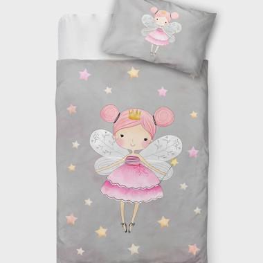 komplet delikatnej pościeli do łóżeczka dziecięcego, szara pościel z wróżką z różowym minky w gwiazdki