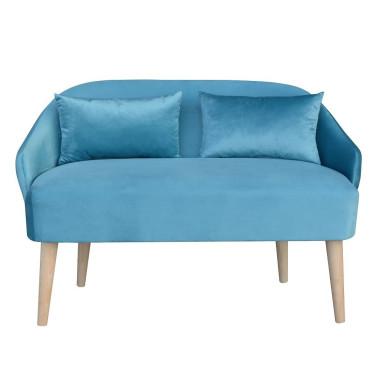Mini sofa Emi Velvet - mała sofa do pokoju dziecięcego w kolorze niebieskim