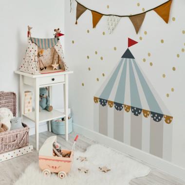 Naklejka na ścianę do pokoju dziecka-cyrk błękit