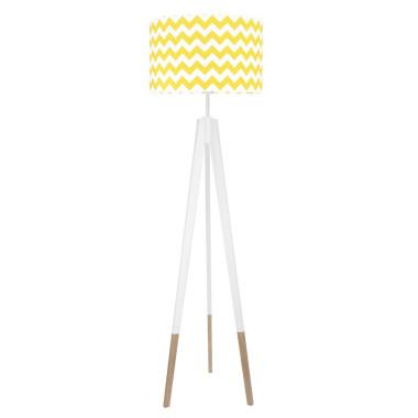 youngDECO lampa podłogowa trójnóg biały w skarpetkach chevron żółty