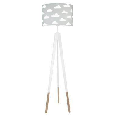 youngDECO lampa podłogowa trójnóg biały w skarpetkach chmurki białe na szarym