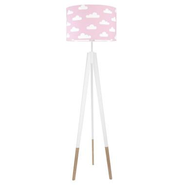 youngDECO lampa podłogowa trójnóg biały w skarpetkach chmurki na różowym