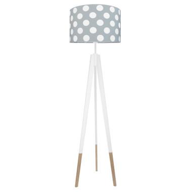 youngDECO lampa podłogowa trójnóg biały w skarpetkach grochy duże na szarym