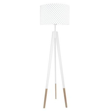 youngDECO lampa podłogowa trójnóg biały w skarpetkach grochy szare