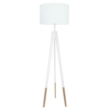 youngDECO lampa podłogowa trójnóg biały w skarpetkach grochy turkusowe