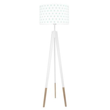 youngDECO lampa podłogowa trójnóg biały w skarpetkach gwiazdki miętowe