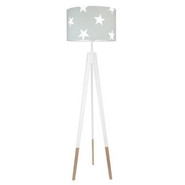 youngDECO lampa podłogowa trójnóg biały w skarpetkach gwiazdy na szarym