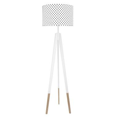 youngDECO lampa podłogowa trójnóg biały w skarpetkach kropeczki czarne