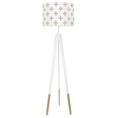youngDECO lampa podłogowa trójnóg biały w skarpetkach krzyzyki szare