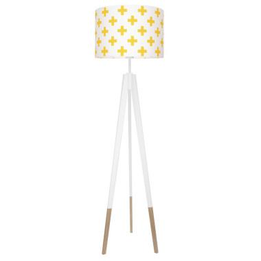 youngDECO lampa podłogowa trójnóg biały w skarpetkach krzyzyki żółte