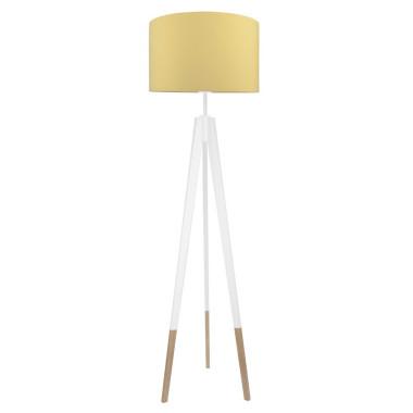 youngDECO lampa podłogowa trójnóg biały w skarpetkach musztardowa