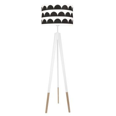youngDECO lampa podłogowa trójnóg biały w skarpetkach półksiężyce czarne