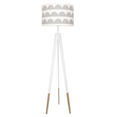 youngDECO lampa podłogowa trójnóg biały w skarpetkach półksieżyce szare