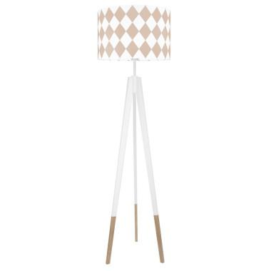 youngDECO lampa podłogowa trójnóg biały w skarpetkach romby brudny róż