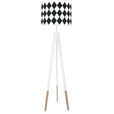 youngDECO lampa podłogowa trójnóg biały w skarpetkach romby czarne