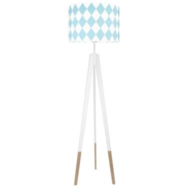 youngDECO lampa podłogowa trójnóg biały w skarpetkach romby turkusowe