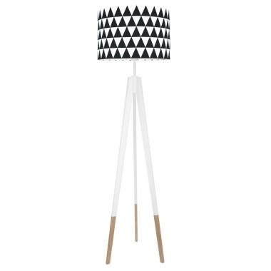 youngDECO lampa podłogowa trójnóg biały w skarpetkach trójkąty czarne