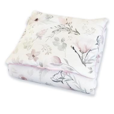 Wyjątkowy komplet pościeli dziecięcej do gondoli lub kołyski, kołderka + poduszka Zimowe Kwiaty. Róż i biel