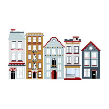 Kolorowe naklejki na ścianę do pokoju dziecka-kamieniczki/ miasto